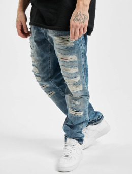 Cipo & Baxx Straight Fit Jeans Destroyed modrý