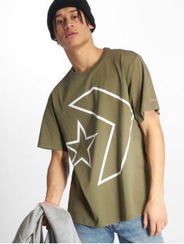 Converse t-shirt Tilted Star Chevron olijfgroen