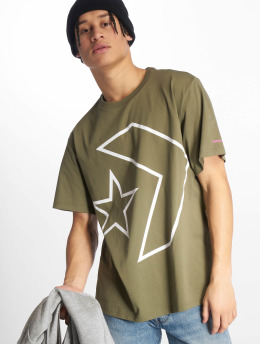 Converse T-Shirty Tilted Star Chevron oliwkowy