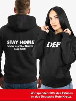DEF Bluzy z kapturem Stay Home czarny