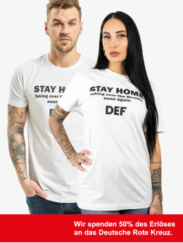 DEF T-Shirt Stay Home weiß
