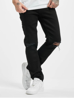 Denim Project Straight Fit Jeans Mr Red Knee Cut svart
