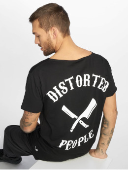 Distorted People Camiseta Cutted Neck negro