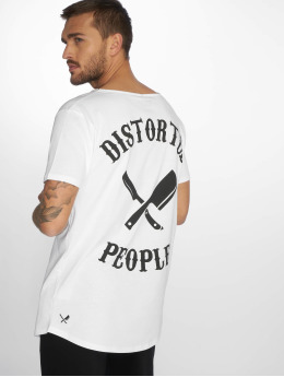 Distorted People T-paidat Cutted Neck valkoinen