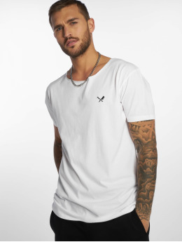 Distorted People T-shirt Cutted Neck bianco