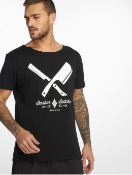 Distorted People T-Shirt Barber & Butcher Cutted Neck noir