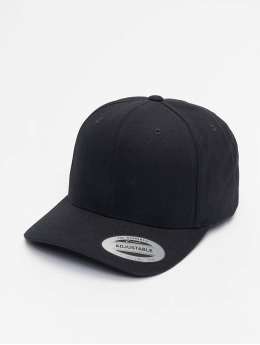 Flexfit Snapback Cap 6-Panel Curved Metal schwarz