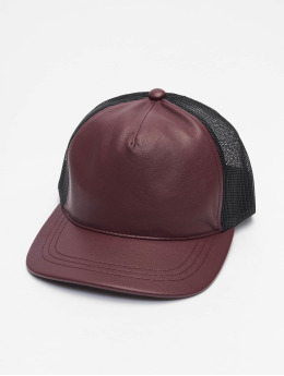 Flexfit trucker cap Leather  rood