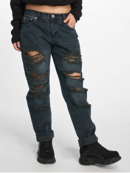 Glamorous Boyfriend Jeans Destroyed modrý