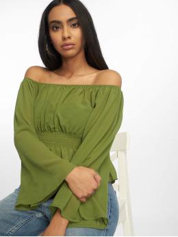 Glamorous Topssans manche Ladies Woven vert