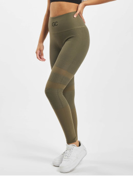 GymCodes Sportleggings Madrid Premium Mesh  olijfgroen