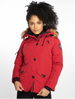 Helvetica Winter Jacket Ontario Raccoon Edition  red