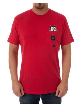 HUF T-Shirt Felix Watching Pocket rot