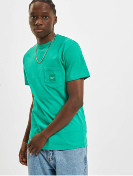 HUF T-Shirty Box Logo Pocket zielony