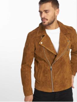 Jack & Jones Кожаная куртка jorDane Biker Noos Leather коричневый