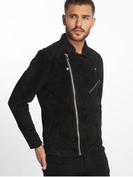 Jack & Jones Leather Jacket jorDane Biker Noos Leather black