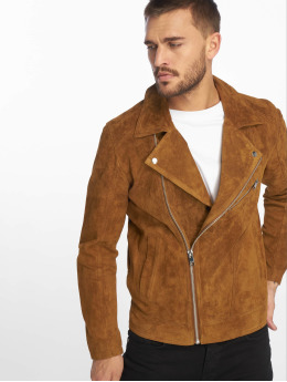 Jack & Jones Leather Jacket jorDane Biker Noos Leather brown