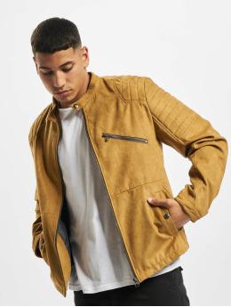 Jack & Jones Leather Jacket jprRick khaki