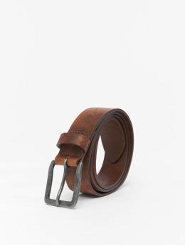 Jack & Jones Paski jacVictor Leather Noos  brazowy