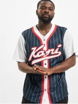 Karl Kani Shirt Varsity Block Pinstripe Baseball blue