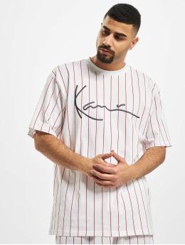 Karl Kani T-Shirt Kk Signature Pinstripe blanc