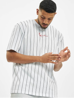 Karl Kani T-Shirt Small Signature Pinstripe blanc