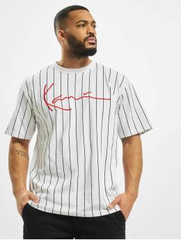 Karl Kani t-shirt Signature Pinstripe wit