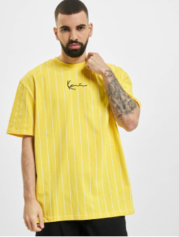 Karl Kani T-Shirt Small Signature Pinstripe yellow