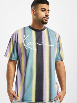 Karl Kani T-shirts Kk Faded Stripe Signature blå