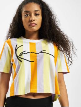 Karl Kani T-Shirty Kk Signature Stripe Crop Wide bialy