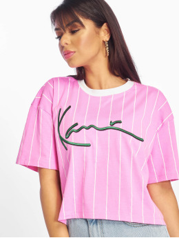 Karl Kani T-skjorter Signature Stripe lyserosa