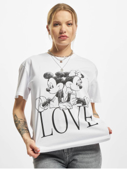 Merchcode T-shirts Ladies Minnie Loves Mickey  hvid