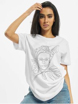 Merchcode T-Shirty Frida Kahlo One Line bialy