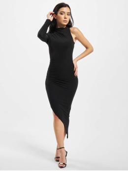 Missguided Šaty Slinky One Sleeve High Neck čern