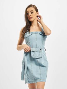 Missguided Šaty Zip Up With Belt Bag modrý