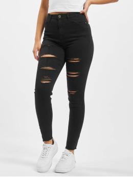 Missguided Облегающие джинсы Sinner Highwaisted Extreme Rip черный