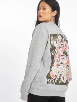 Missguided Пуловер Floral Graphic Back Print серый