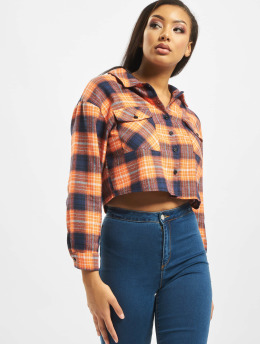 Missguided Рубашка Petite Oversized Crop Check оранжевый