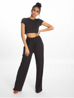 Missguided Anzug Crop Top And Wide Leg schwarz