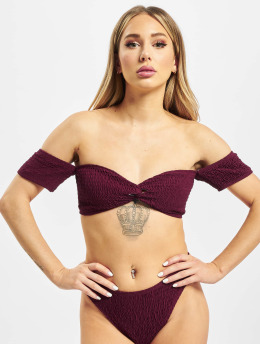 Missguided Bikiny Crinkle Milkmaid And Bottoms èervená