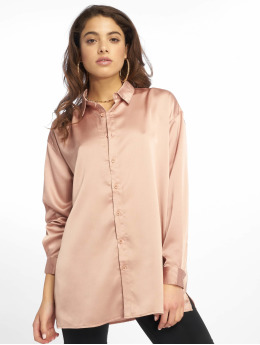 Missguided Blouse/Tunic Oversized Satin gold colored
