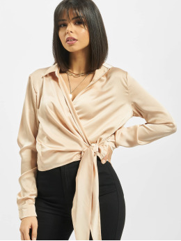 Missguided Blouse/Tunic Satin Tie Side gold colored
