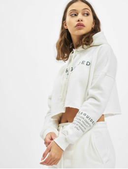 Missguided Bluzy z kapturem Mishort Sleeveguided Branded Cropped bialy