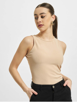 Missguided Body Petite Ribbed Racer Back  béžová
