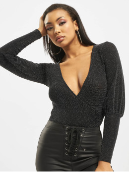 Missguided Body Longsleeve Deep Cuff Glitter Wrap musta