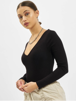 Missguided Body V Neck Ribbed musta