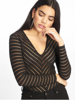 Missguided Body Long Sleeve V Neck Chevron Mesh schwarz