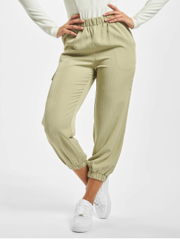Missguided Cargo Nohavice Petite Pin Stripe Green Coord zelená