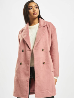 Missguided Coats Oversized DB W Contrast Buttons rose