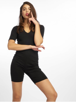 Missguided Combinaison & Combishort Raw Edge Rib Short Sleeve Unitard noir